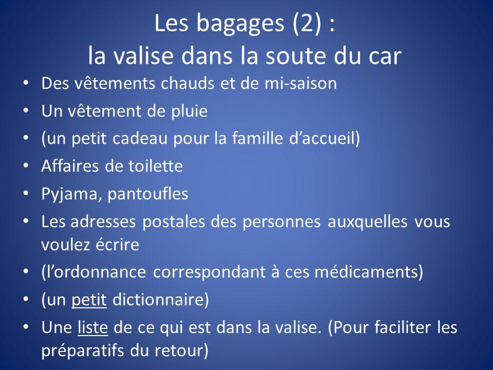 Les bagages (2) : la valise dans la soute du car