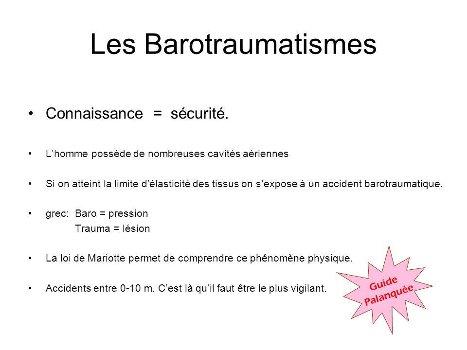 Les Barotraumatismes Connaissance = sécurité.