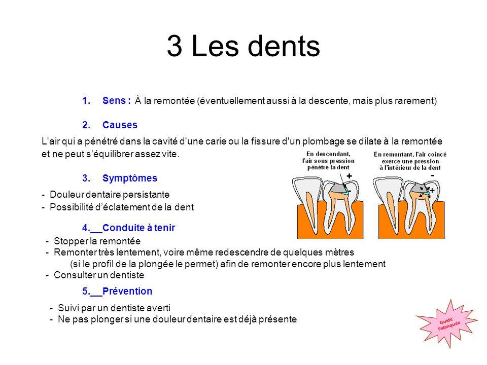 3 Les dents Sens : Causes Symptômes 4. Conduite à tenir 5. Prévention