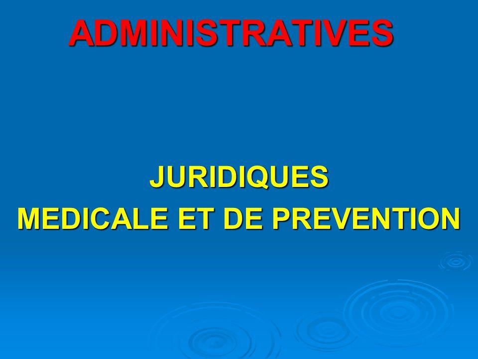 JURIDIQUES MEDICALE ET DE PREVENTION
