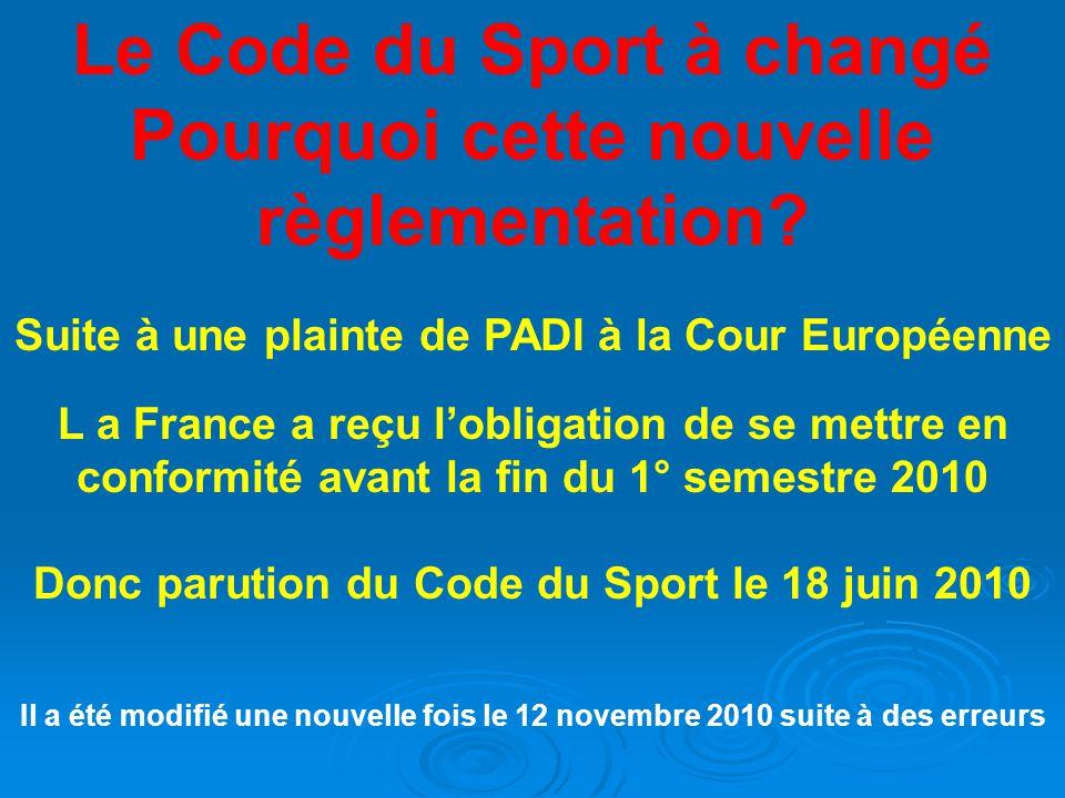 Le Code du Sport à changé Pourquoi cette nouvelle règlementation