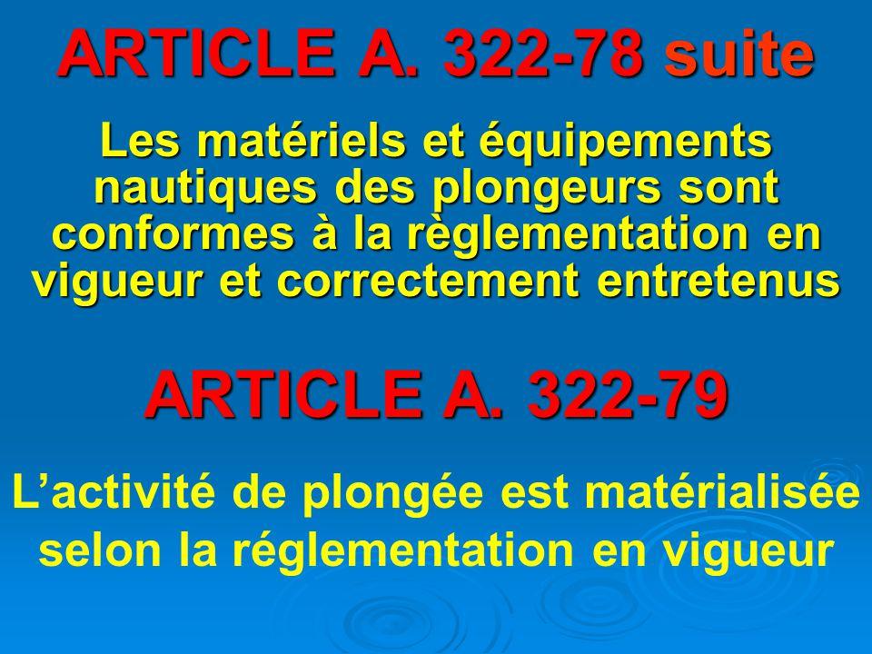 ARTICLE A. 322-78 suite ARTICLE A. 322-79