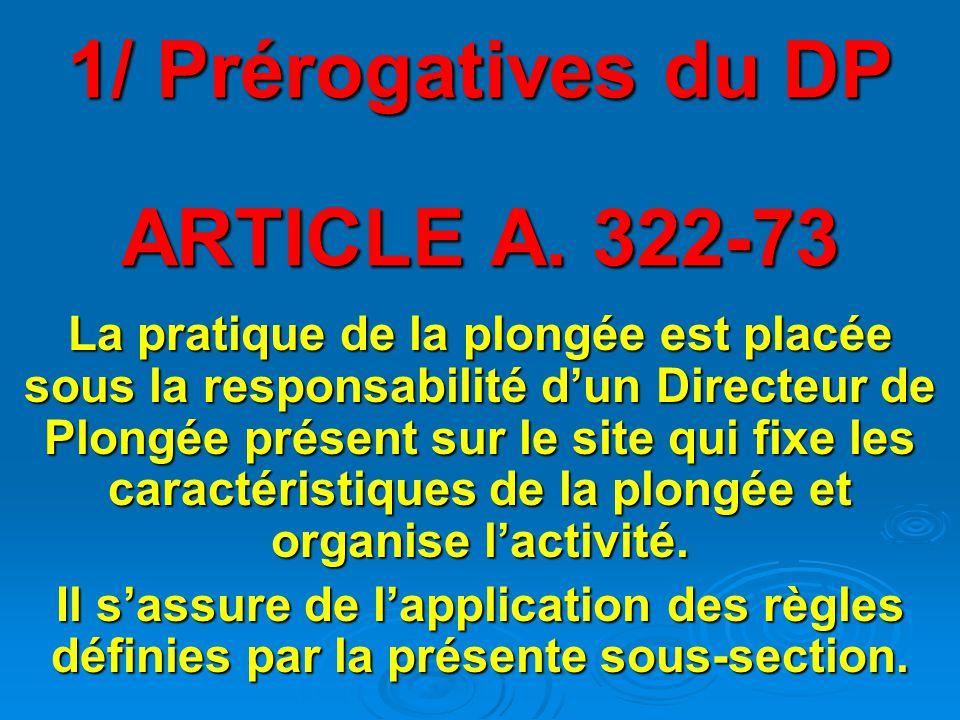 1/ Prérogatives du DP ARTICLE A. 322-73