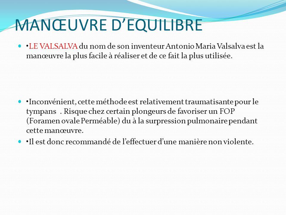 MANŒUVRE D'EQUILIBRE