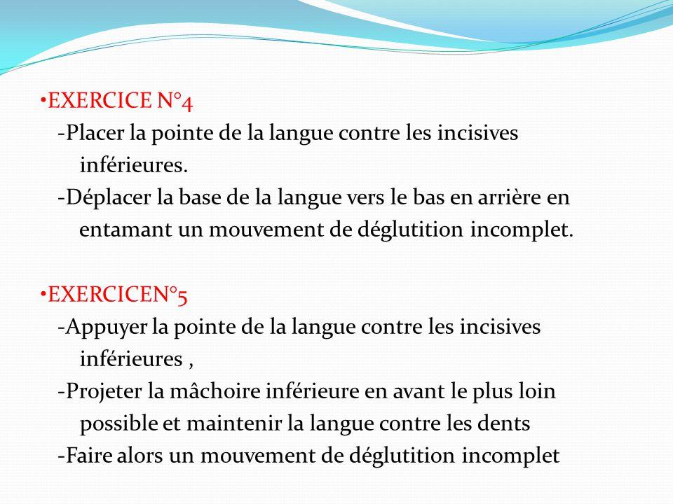 •EXERCICE N°4 -Placer la pointe de la langue contre les incisives inférieures.