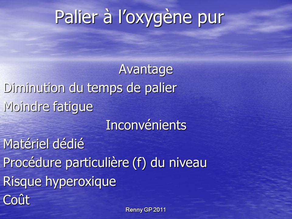 Palier à l'oxygène pur Avantage Diminution du temps de palier