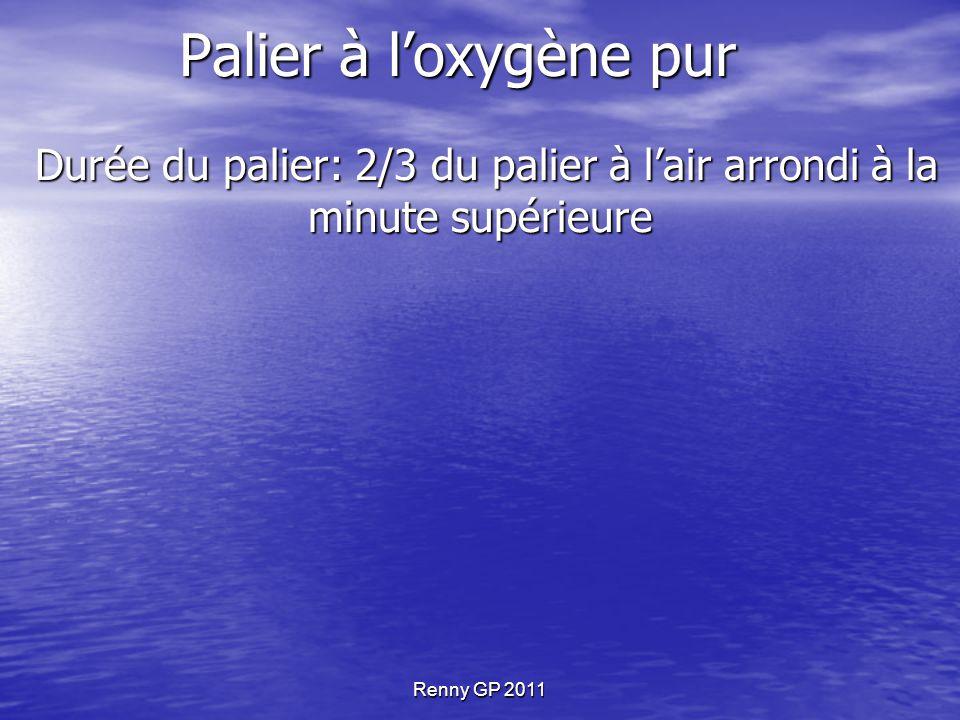 Durée du palier: 2/3 du palier à l'air arrondi à la minute supérieure