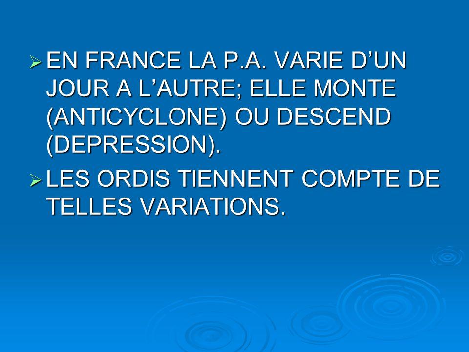 EN FRANCE LA P.A. VARIE D'UN JOUR A L'AUTRE; ELLE MONTE (ANTICYCLONE) OU DESCEND (DEPRESSION).