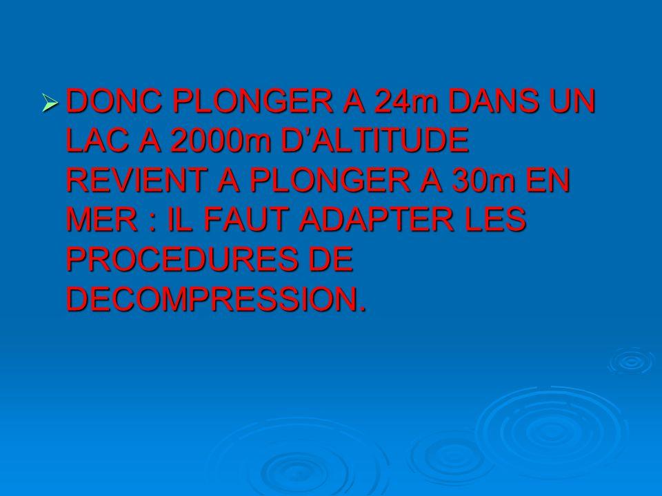 DONC PLONGER A 24m DANS UN LAC A 2000m D'ALTITUDE REVIENT A PLONGER A 30m EN MER : IL FAUT ADAPTER LES PROCEDURES DE DECOMPRESSION.