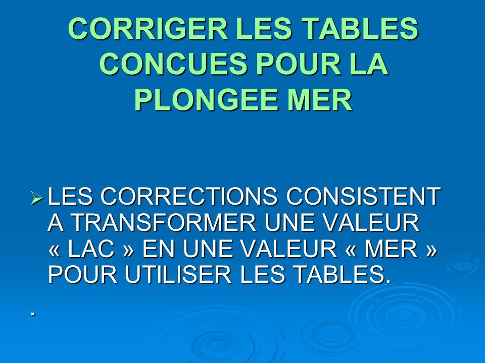 CORRIGER LES TABLES CONCUES POUR LA PLONGEE MER