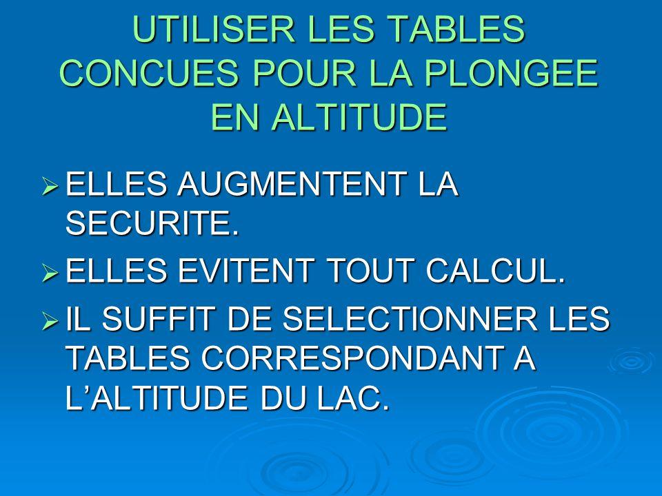 UTILISER LES TABLES CONCUES POUR LA PLONGEE EN ALTITUDE