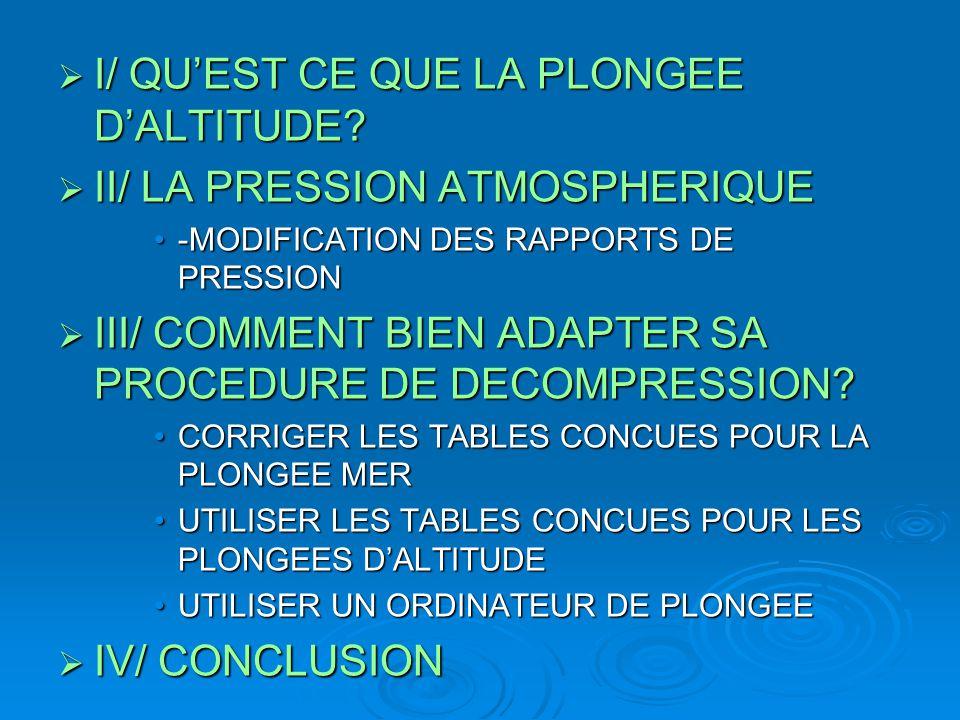 I/ QU'EST CE QUE LA PLONGEE D'ALTITUDE II/ LA PRESSION ATMOSPHERIQUE