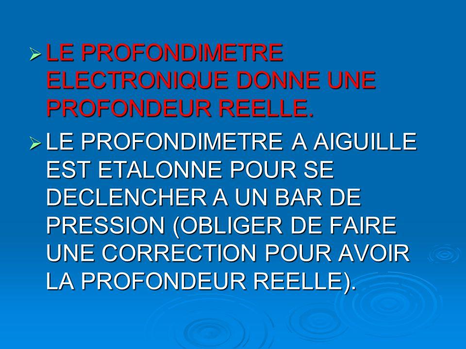 LE PROFONDIMETRE ELECTRONIQUE DONNE UNE PROFONDEUR REELLE.