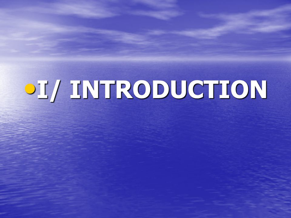 I/ INTRODUCTION