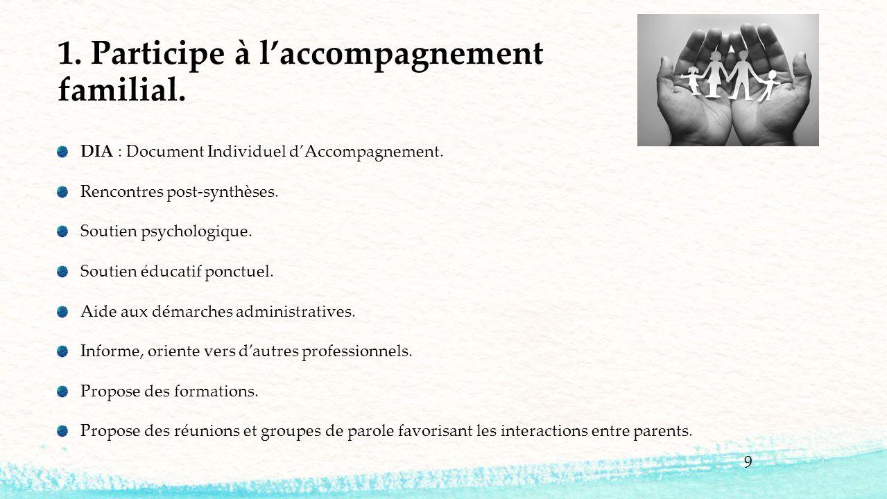 1. Participe à l'accompagnement familial.