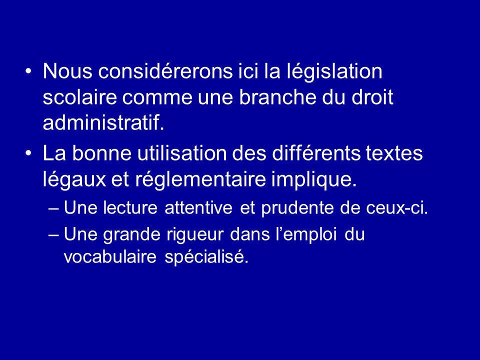 Nous considérerons ici la législation scolaire comme une branche du droit administratif.