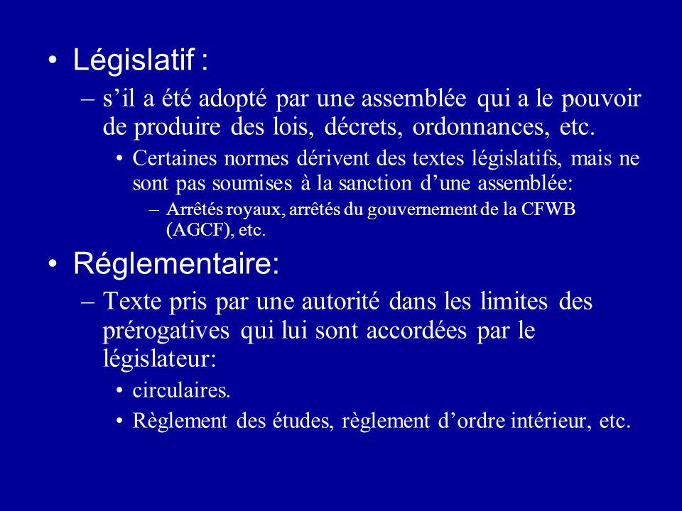 Législatif : Réglementaire: