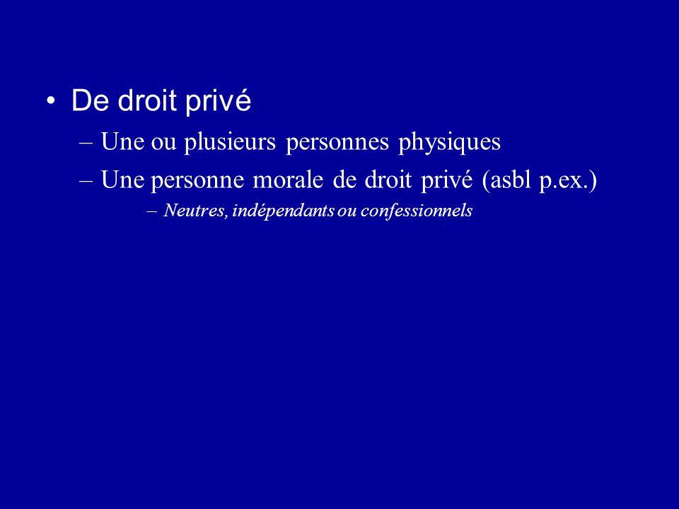 De droit privé Une ou plusieurs personnes physiques