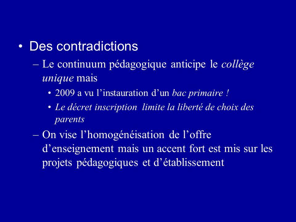 Des contradictions Le continuum pédagogique anticipe le collège unique mais. 2009 a vu l'instauration d'un bac primaire !