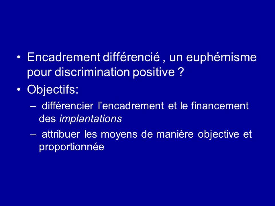 Encadrement différencié , un euphémisme pour discrimination positive