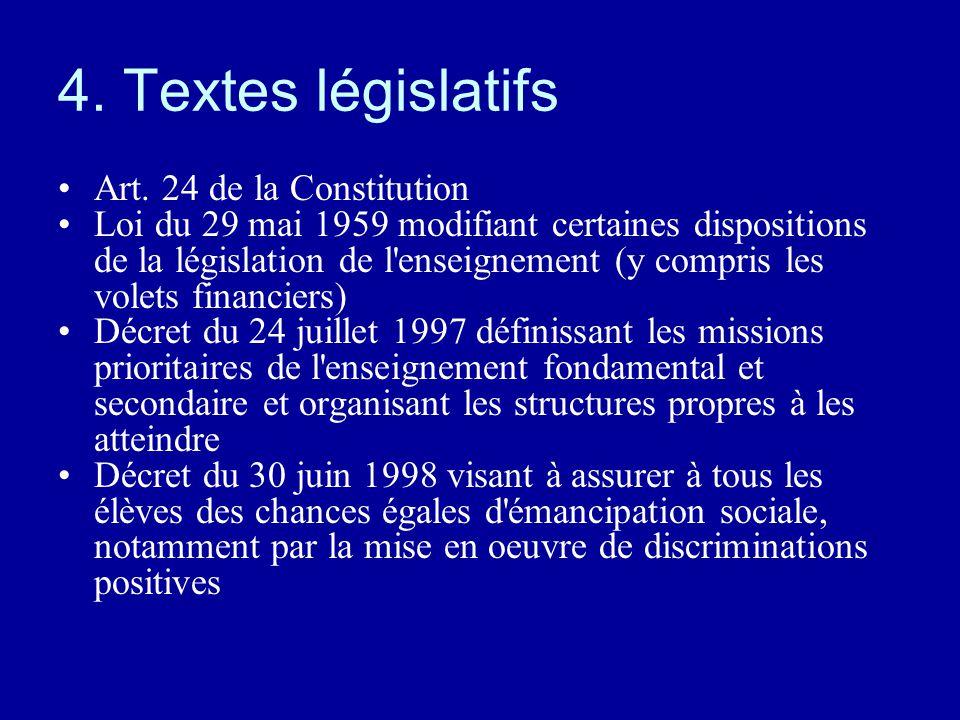 4. Textes législatifs Art. 24 de la Constitution