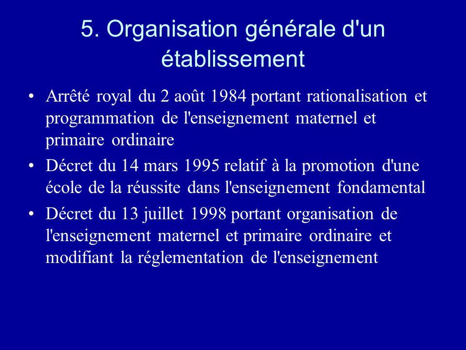 5. Organisation générale d un établissement