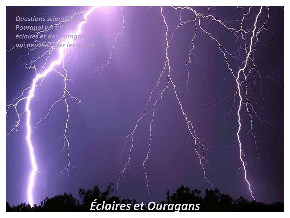Éclaires et Ouragans Questions scientifiques: