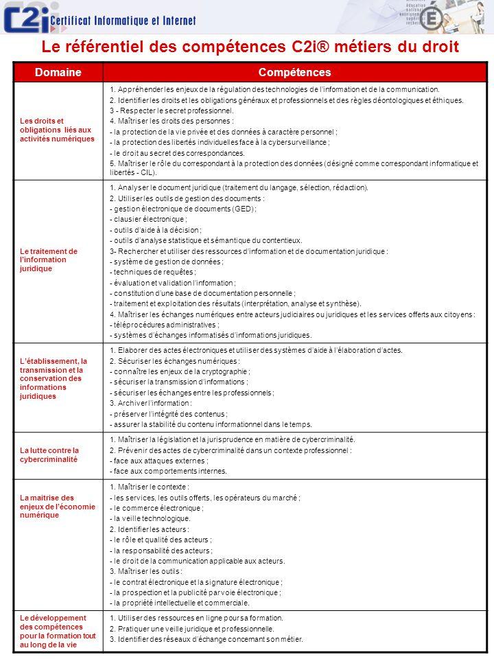 Le référentiel des compétences C2i® métiers du droit