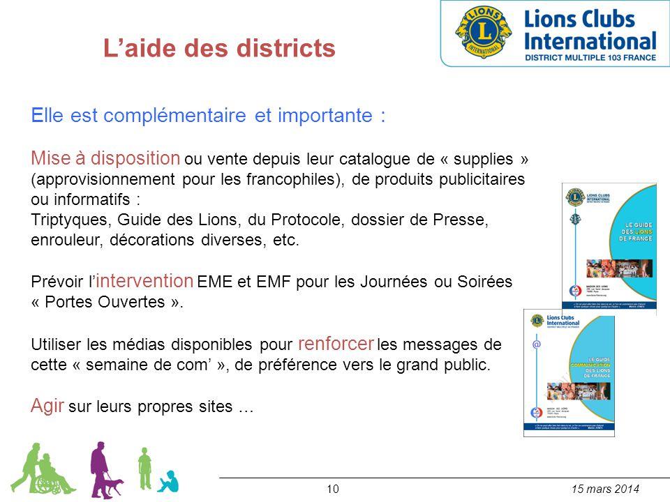 L'aide des districts Elle est complémentaire et importante :