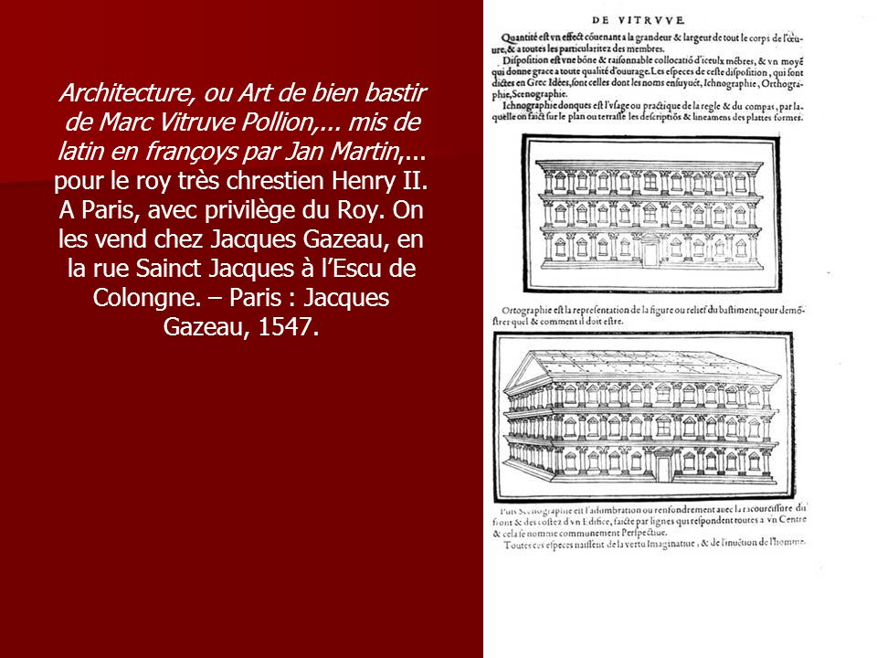 Architecture, ou Art de bien bastir de Marc Vitruve Pollion,