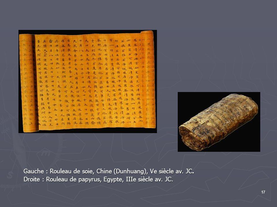 Gauche : Rouleau de soie, Chine (Dunhuang), Ve siècle av. JC.