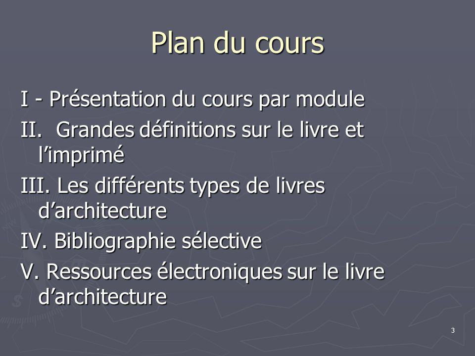 Plan du cours I - Présentation du cours par module