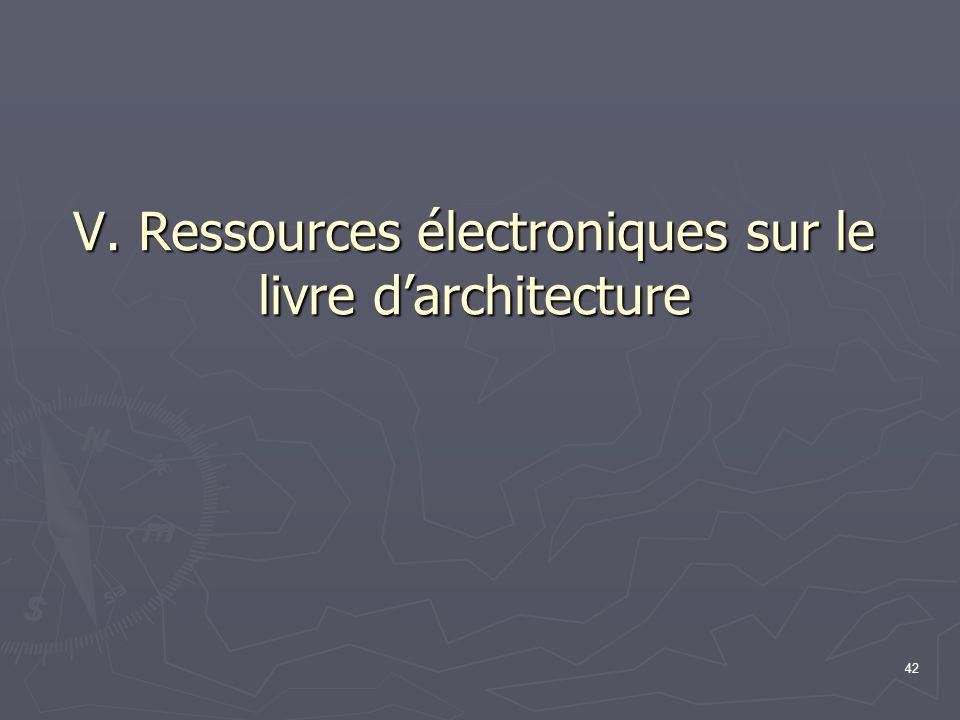 V. Ressources électroniques sur le livre d'architecture