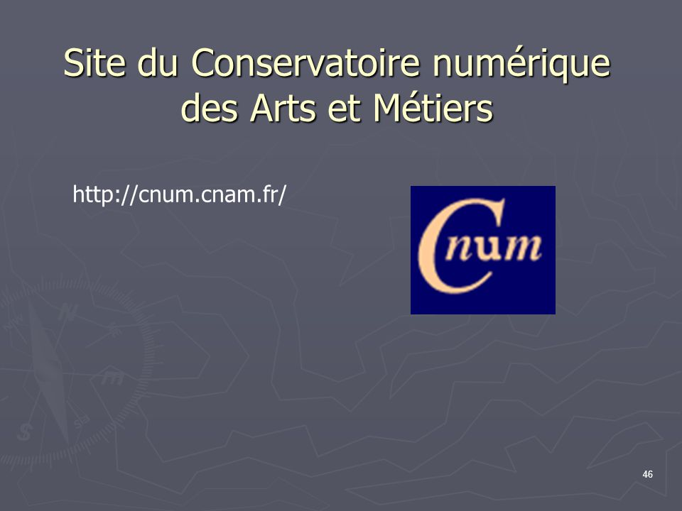 Site du Conservatoire numérique des Arts et Métiers
