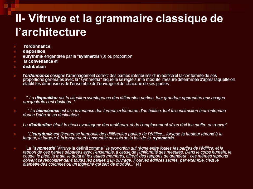 II- Vitruve et la grammaire classique de l'architecture