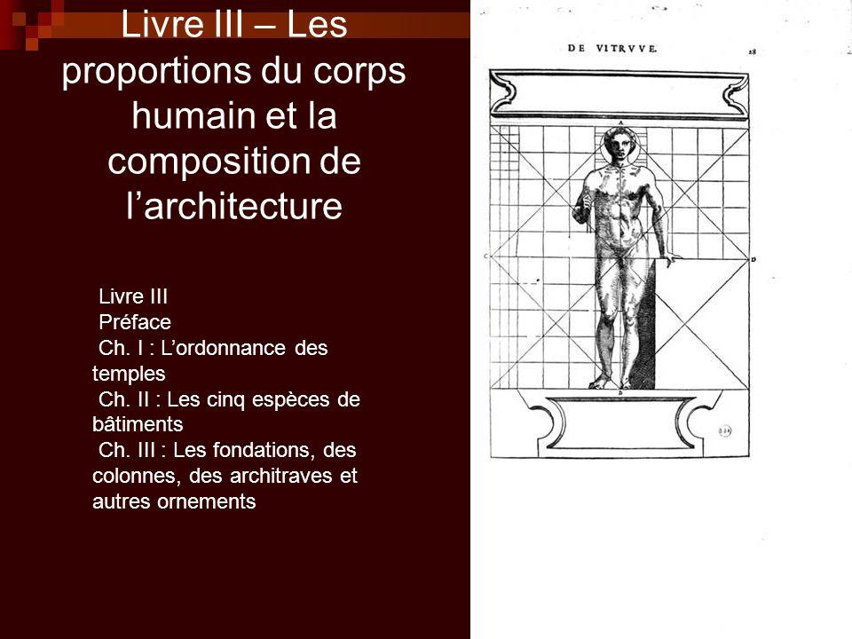 Livre III – Les proportions du corps humain et la composition de l'architecture
