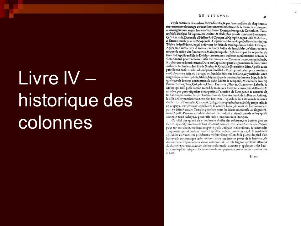 Livre IV – historique des colonnes