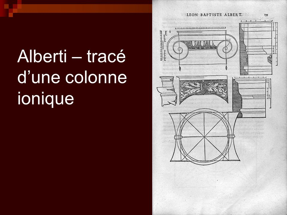 Alberti – tracé d'une colonne ionique