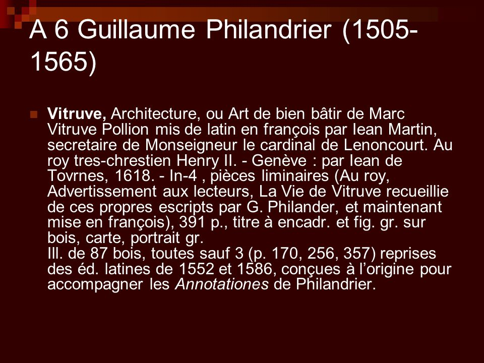 A 6 Guillaume Philandrier (1505-1565)