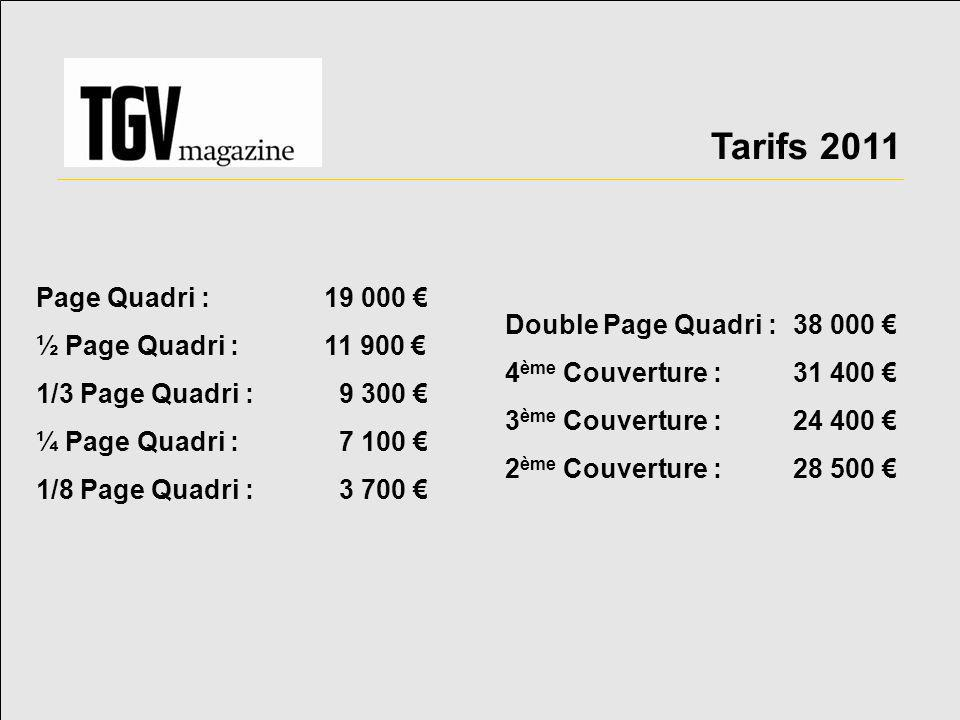 Tarifs 2011 Page Quadri : 19 000 € ½ Page Quadri : 11 900 €