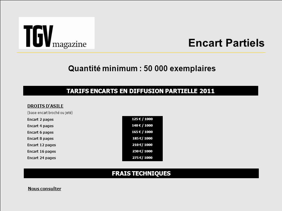 Encart Partiels Quantité minimum : 50 000 exemplaires