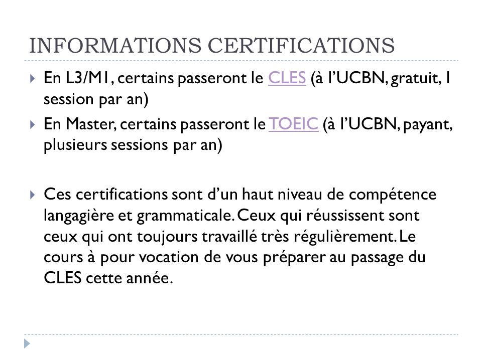 INFORMATIONS CERTIFICATIONS