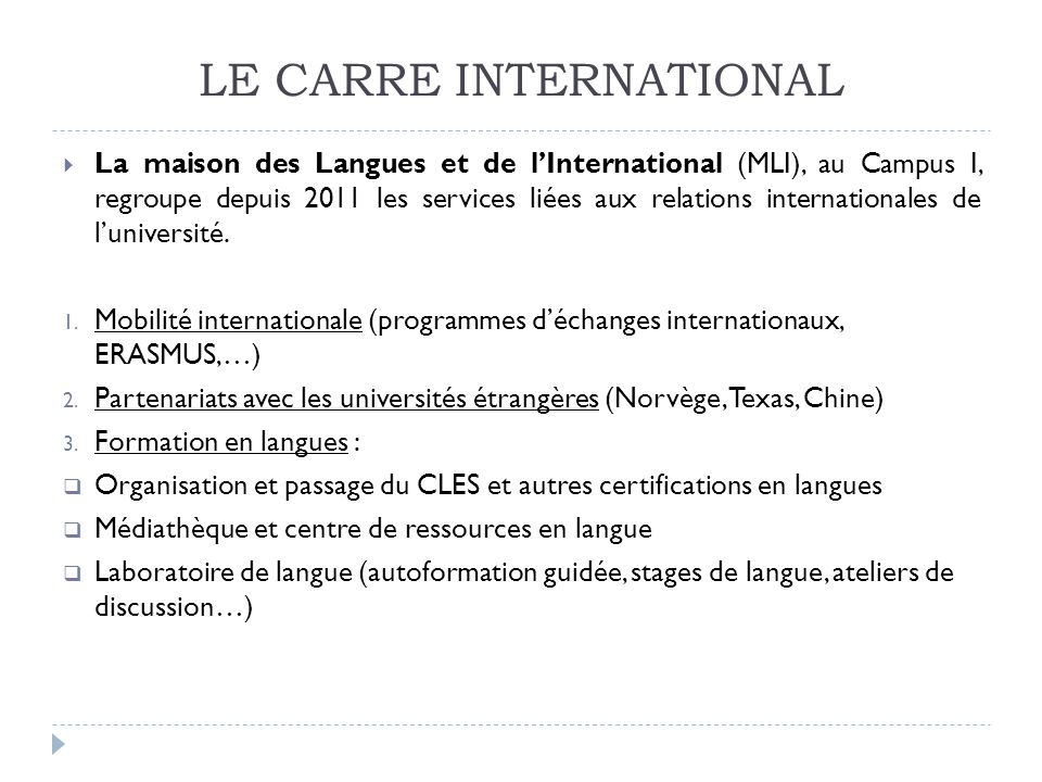 LE CARRE INTERNATIONAL