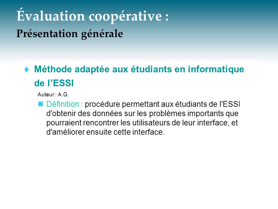 Évaluation coopérative : Présentation générale