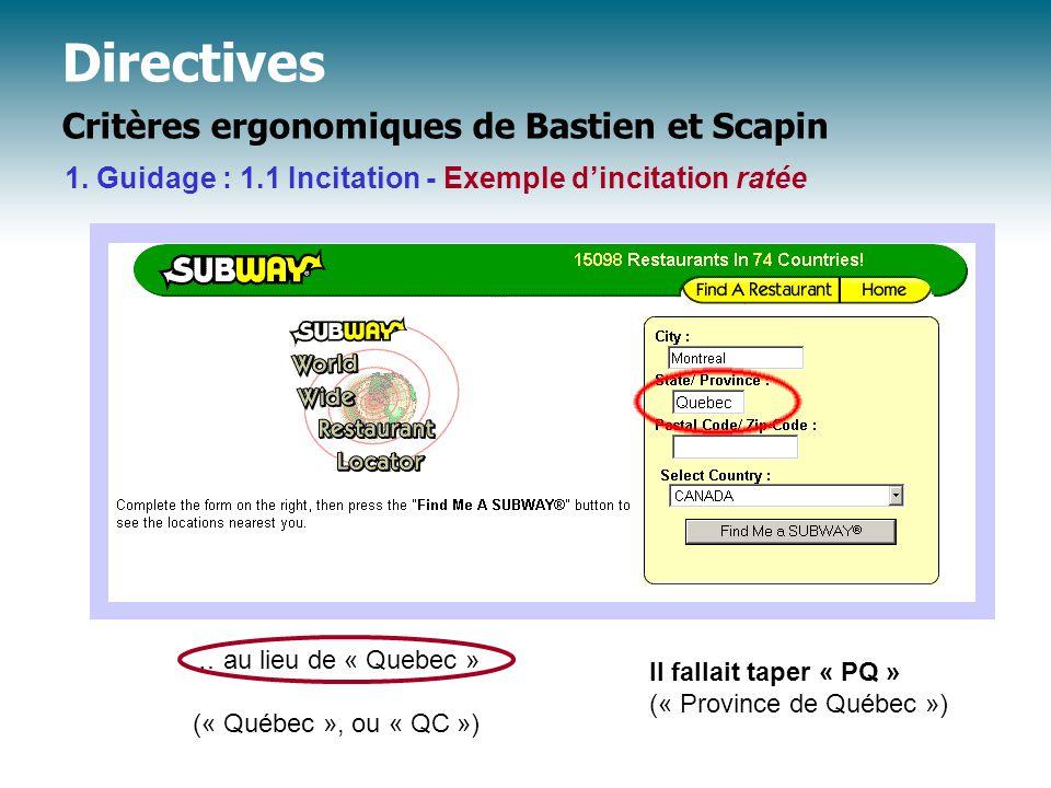 Directives Critères ergonomiques de Bastien et Scapin