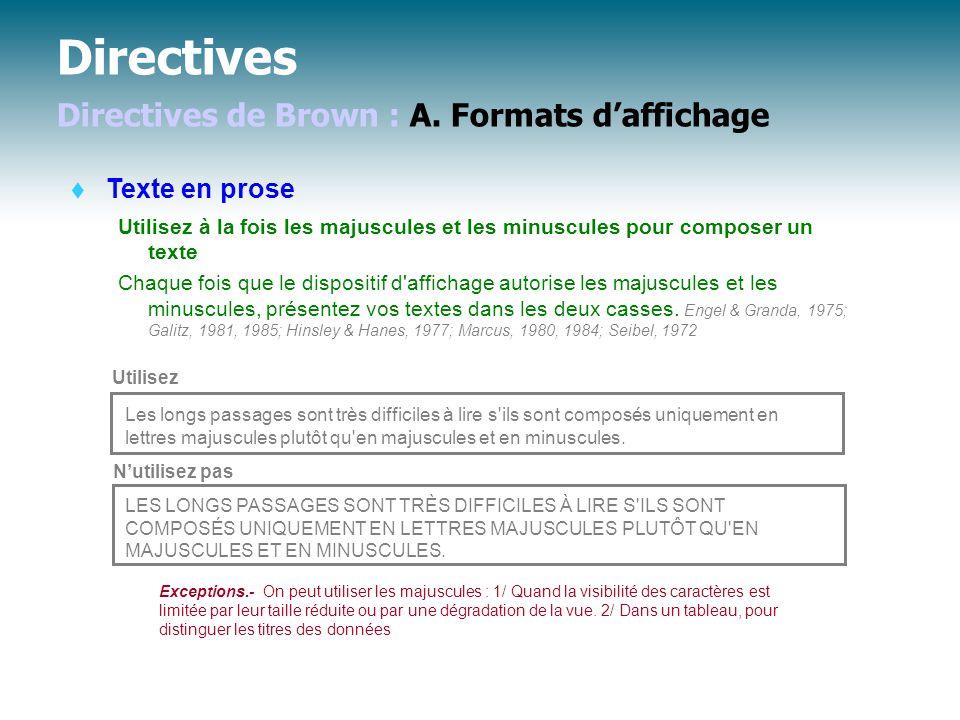 Directives Directives de Brown : A. Formats d'affichage