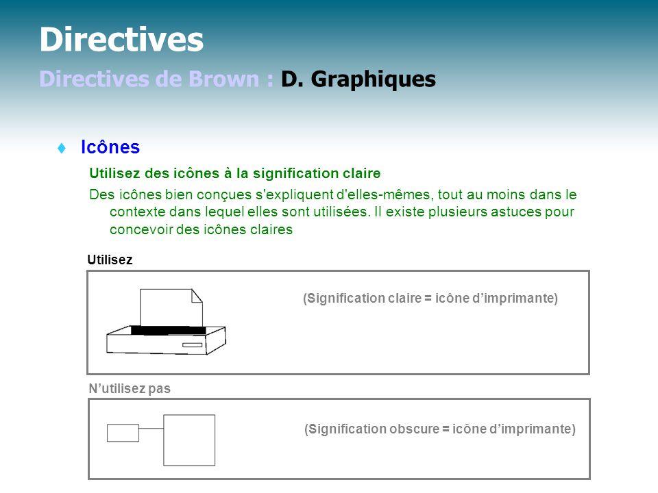 Directives Directives de Brown : D. Graphiques