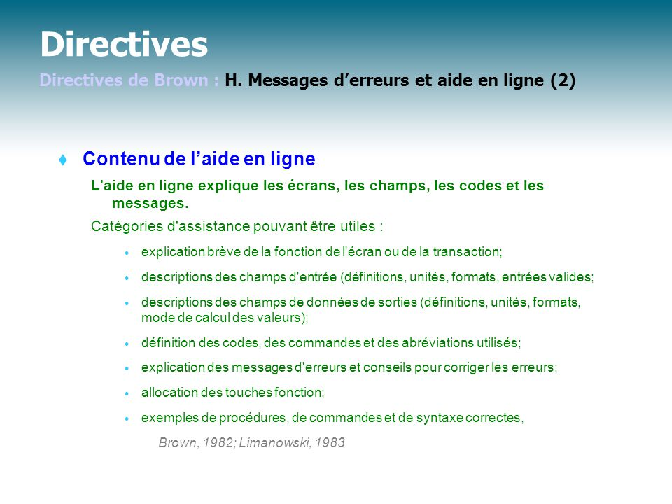 Directives Directives de Brown : H