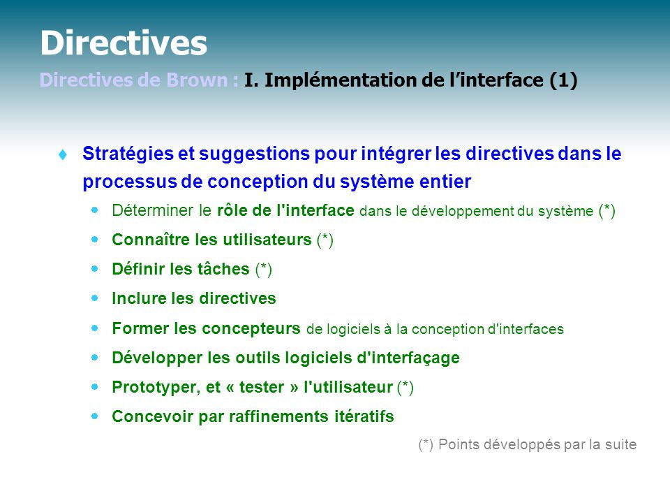 Directives Directives de Brown : I. Implémentation de l'interface (1)