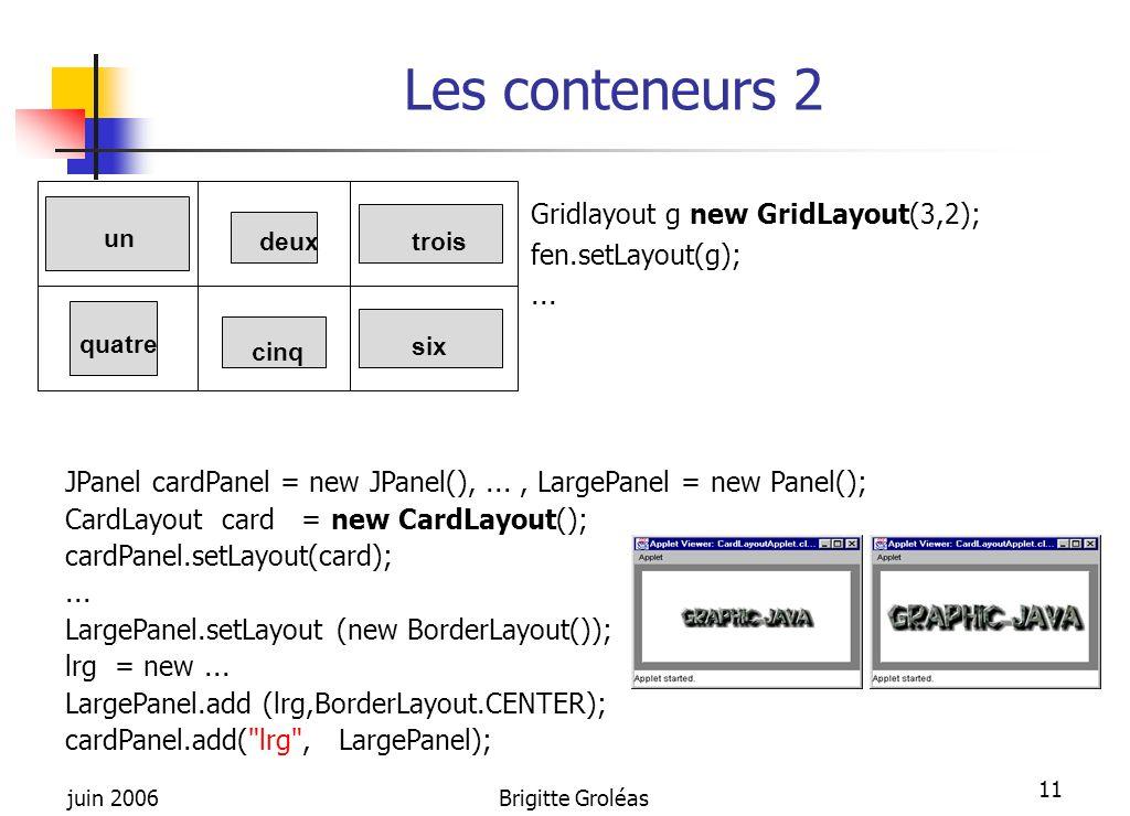 Les conteneurs 2 Gridlayout g new GridLayout(3,2); fen.setLayout(g);